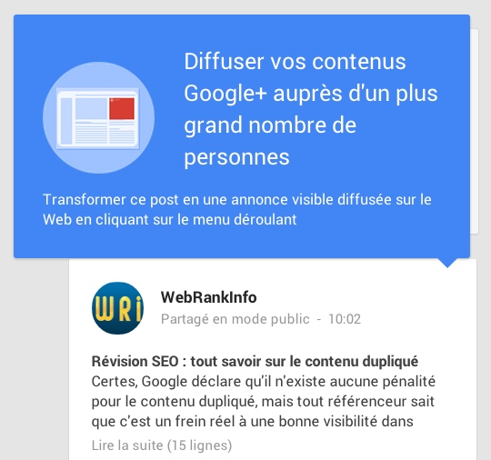 Annonce +Post Google Plus