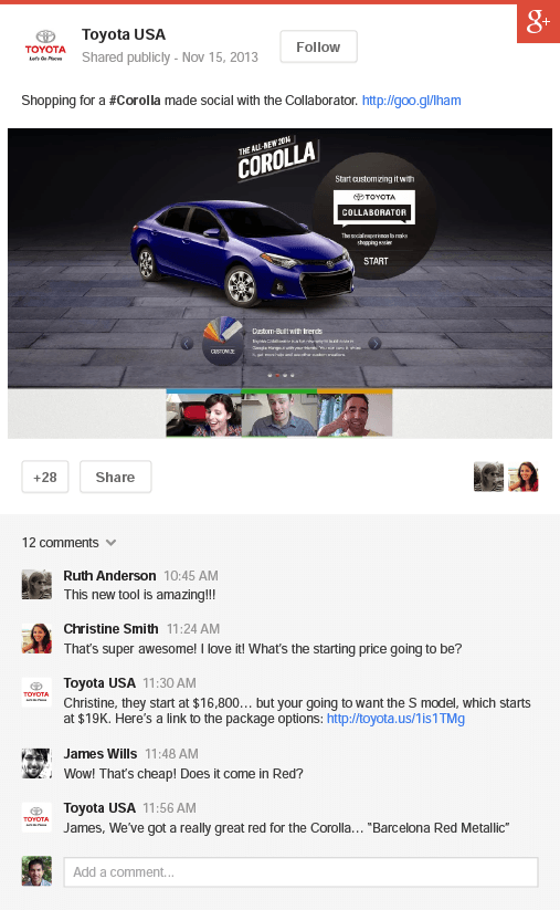 Publication Google+ via annonce +Post