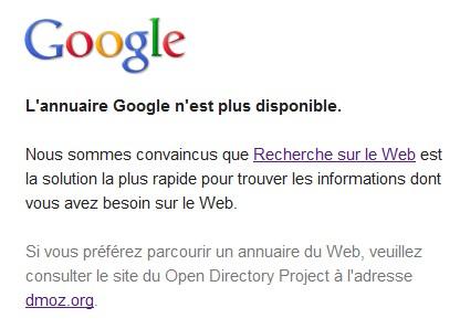 Fin de l'annuaire Google