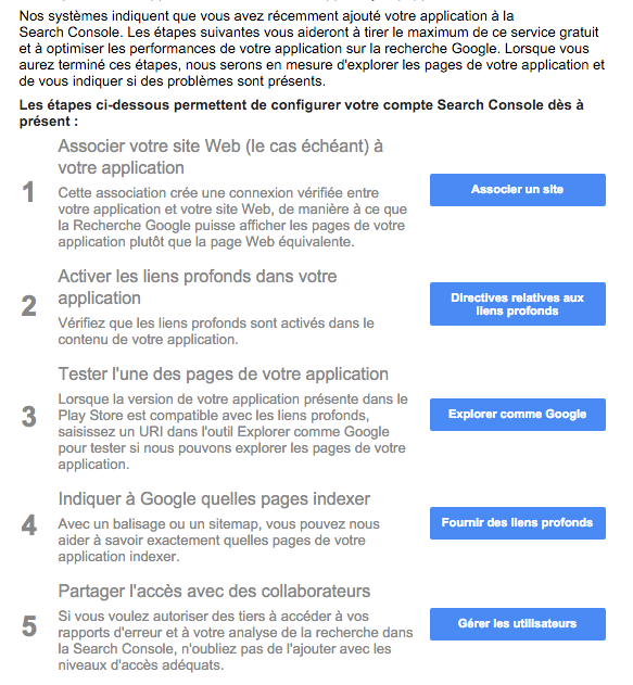 Conseils Google App Indexing Search Console
