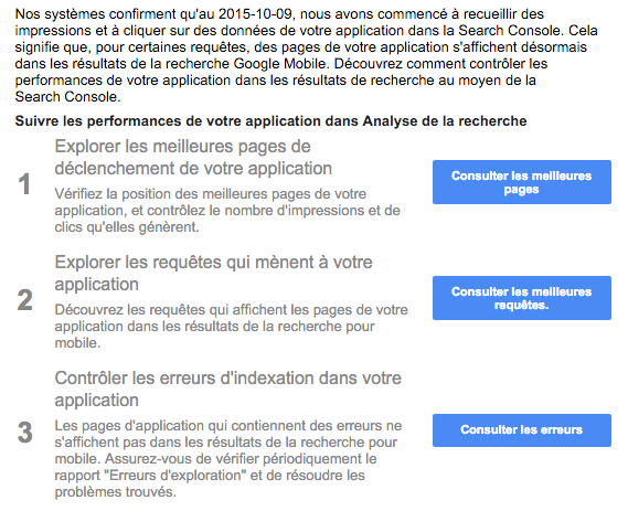 Conseils analyse performances appli Search console