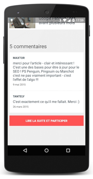Commentaires article appli smartphone