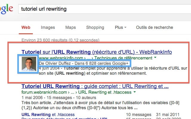 Authorship photo auteur SERPs Google