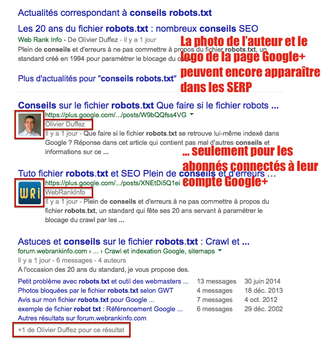 Authorship : photo SERP pour internautes Google Plus