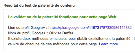 Rich snippet tool : test de paternité de contenu