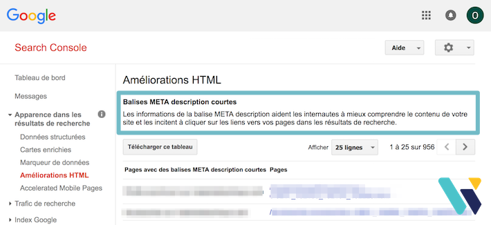 Balises meta description courtes search console