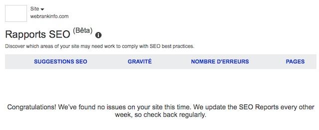 Rapport SEO vide dans Bing Webmaster Tools