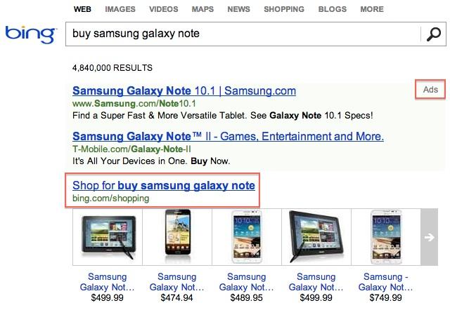 Bing Shopping intégration SERP