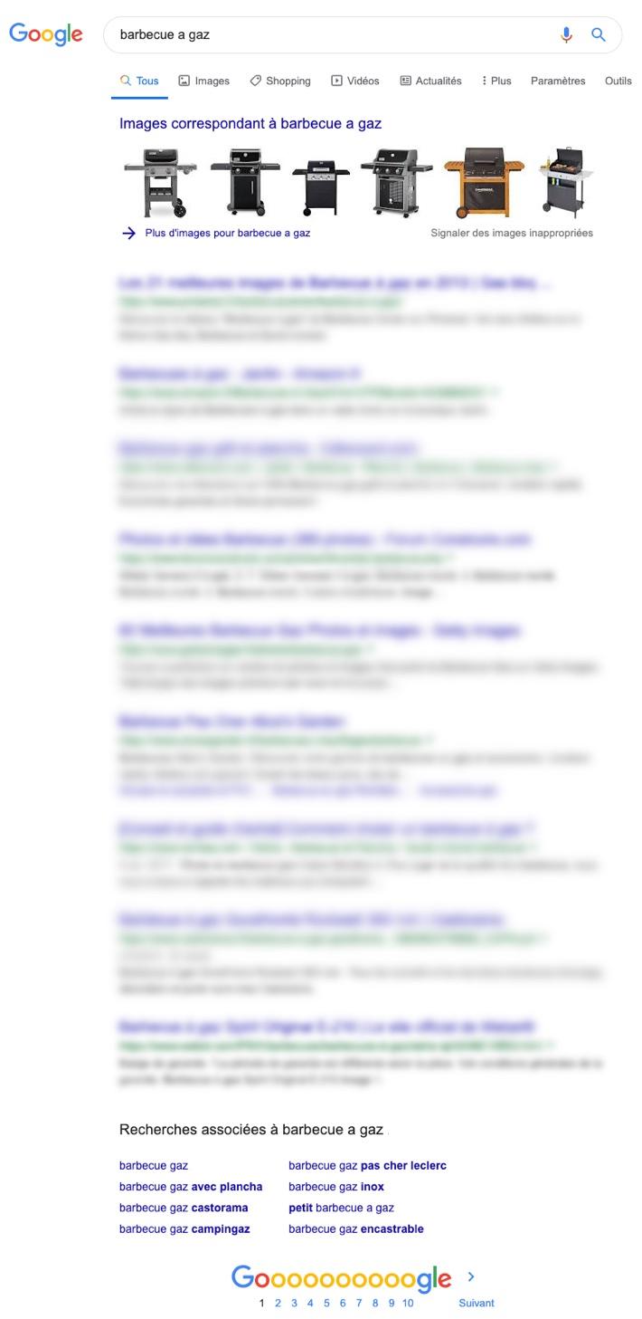 Bloc d'images SERP Google