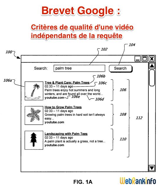 Brevet Google liste de résultats vidéo