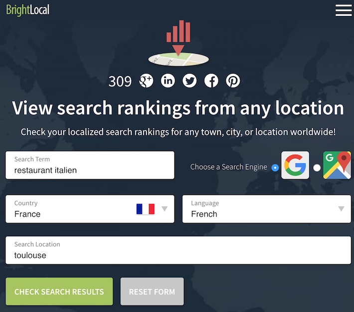 BrightLocal outil geoloc