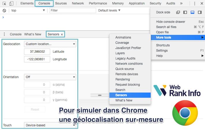 Simuler sa géolocalisation dans Chrome