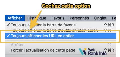 Chrome afficher URL en entier