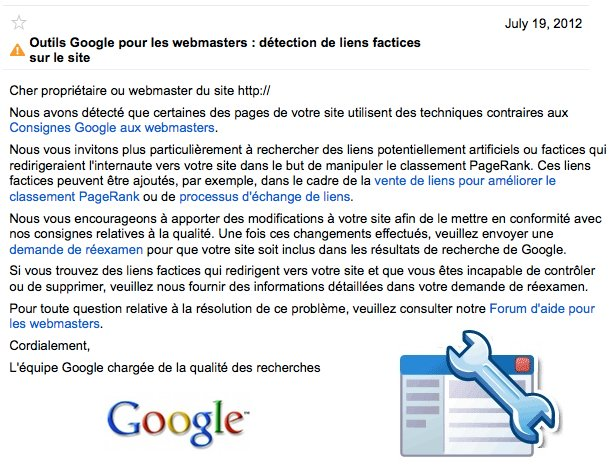 Détection de liens factices : message Google