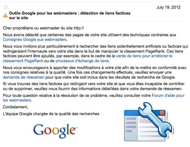 Détection de liens factices: message Google