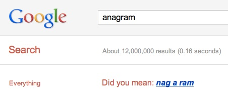 Easter Egg Google Anagram