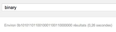 Easter egg Google : recherche en binaire