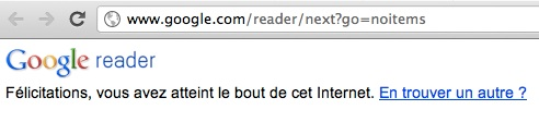 Easter Egg Google Reader : le bout d'Internet