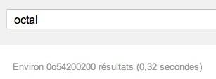 Easter egg Google: le nombre de résultats de recherche indiqué en octal