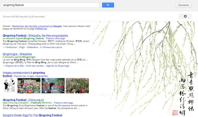 Easter Egg Google pour le Qingming Festival