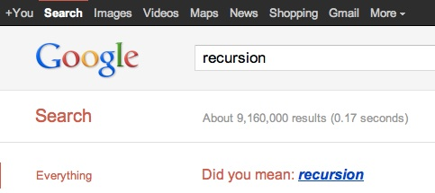 Easter Egg Google recursion