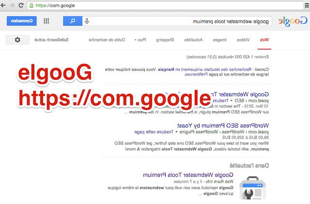 elgoog google à l'envers