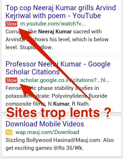 Label slow SERP Google