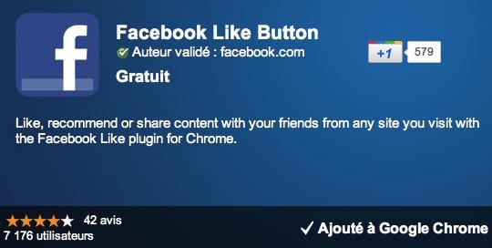 Extension Google Chrome : bouton Like Facebook