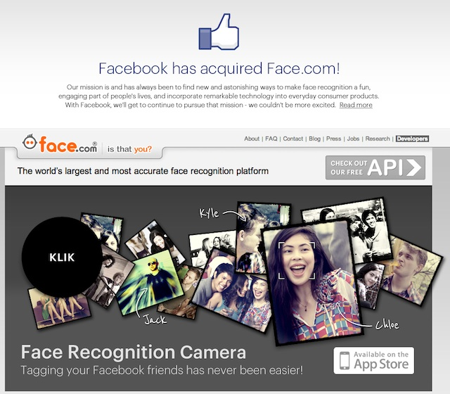 Facebook rachète la start-up face.com