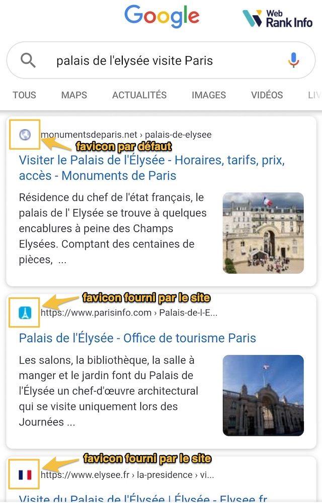 Favicon SERP Google