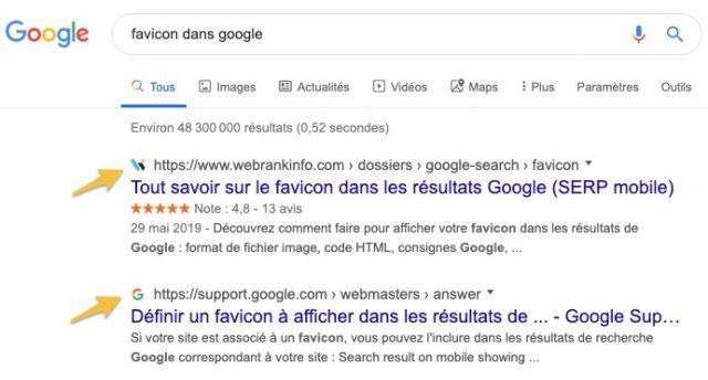 favicon SERP Google desktop
