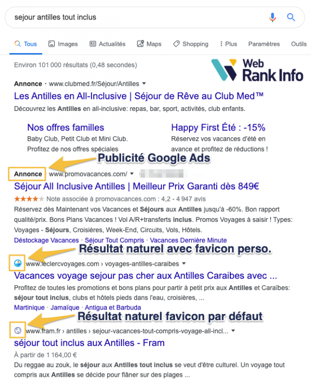 favicon SERP Google desktop officiel janvier 2020