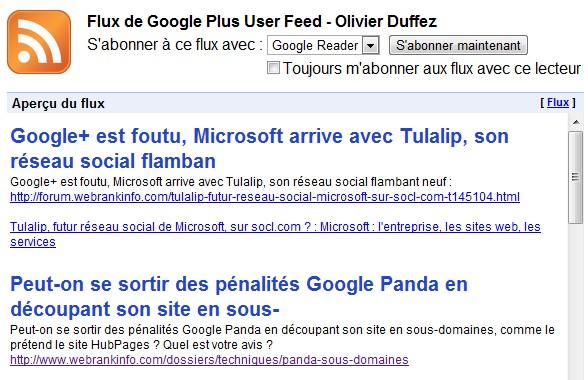 Flux RSS fil d'actu Google Plus