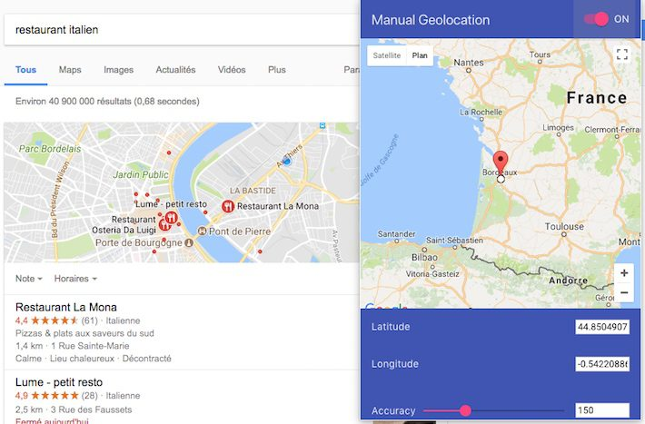 Géolocalisation manuelle extension Chrome