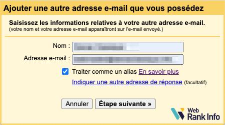Formulaire d'ajout d'adresse mail dans Gmail