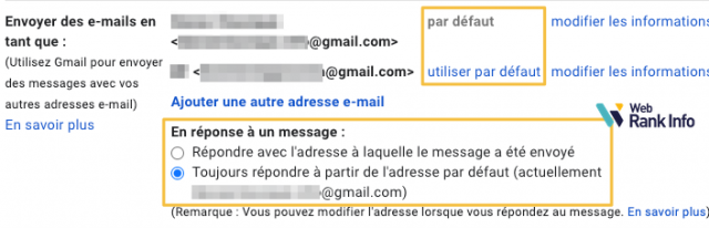 Options adresses email supplémentaires