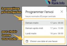 Options pour l'envoi programmé de mail Gmail