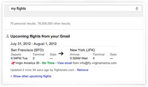 Gmail dans les SERP : exemple de recherche