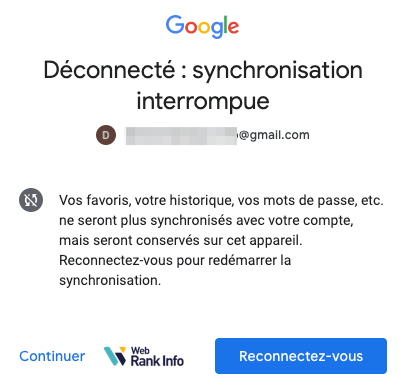 synchronisation interrompue après déconnexion Google