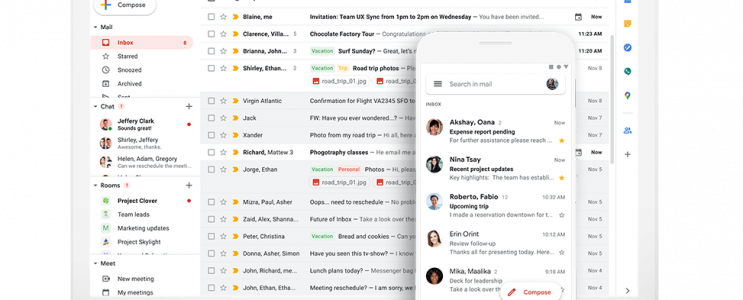 Interface de Gmail