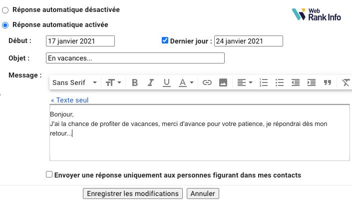 Comment ajouter un message d'absence dans Gmail