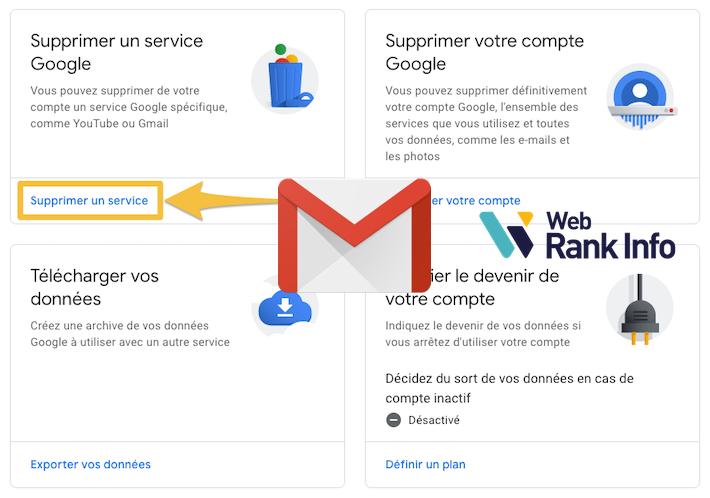 Supprimer un service Google