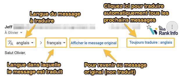 Options de traduction dans Gmail