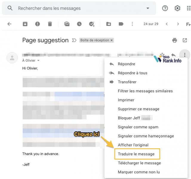Lien pour traduire un message Gmail