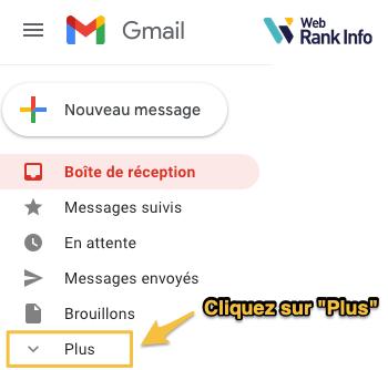 Onglet Plus dans Gmail