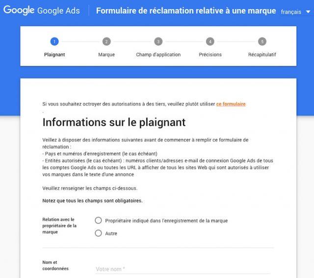 Google Ads: réclamation marque