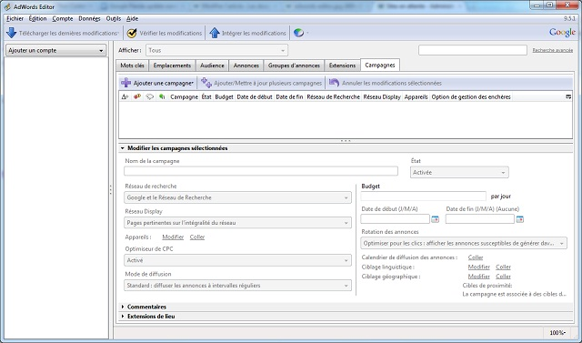 Interface de Google AdWords Editor 9.5 FR