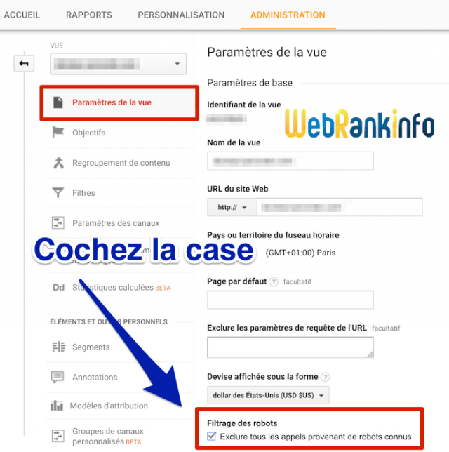 Exclusion de robots dans Google Analytics