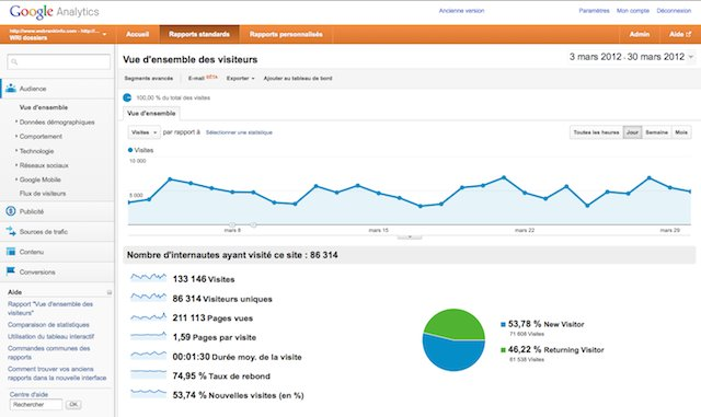 Google Analytics : interface v5