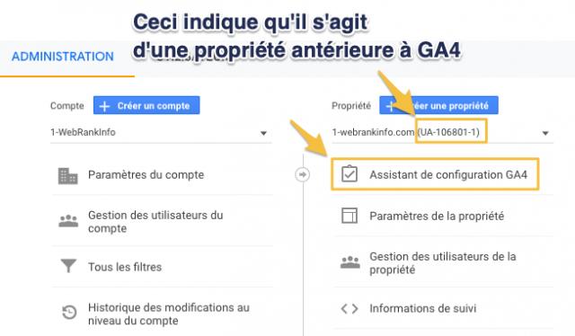 Propriété Google Analytics GA3